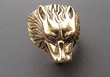 925 Silver Wolf's Head  ring  Ring 21 grams Dipped in 9 ct  or 18 Gold Any Size