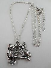 Vintage Style Silvertone Crystal Rhinestone Two Owls Pendant Necklace
