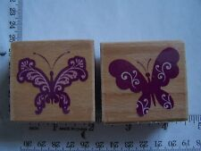 BUTTERLY PAIR WM RUBBER STAMPS Spring  Flourished Butterflies