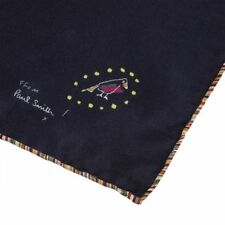 Paul Smith Pocket Square Handkerchief - Silk Multi-Stripe Trim Drawing Bird /NEW