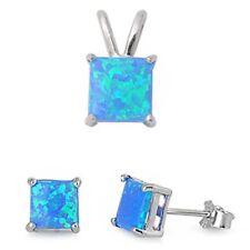 Blue Australian Opal .925 Sterling Silver Earrings & Pendant Set
