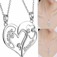 Two Parts Crystal Heart Pendant Necklace for Couple&Best Friend Chain Jewelry