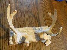 Deer Antler Hook Cast Iron Rustic White   Wall Mount Hunting Lodge Decor