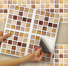 "4 Tile Transfer Stickers 6"" x 6"" NATURAL MOSAIC for Kitchen & Bathroom tiles"