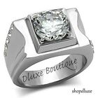 MEN'S ROUND CUT CUBIC ZIRCONIA SILVER STAINLESS STEEL RING SIZE 8-13