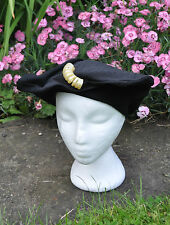 Stylish Bespoke 30's Hat Asymmetrical Black Felt & Textured Fabric S6 3/4 /C54cm