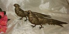 PAIR BRASS WALKING PHEASANT LONG TAIL BIRDS HEN & COCK FIGURES  SUPER DETAIL