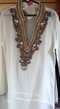Tunic Beaded Beach Resort Wear  India Resort Wear Kaftan White Gold Mauve New L