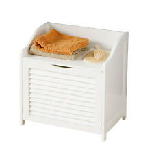White Wood Laundry Storage Cabinet Unit Slatted Door With Hinged Lid Home Office