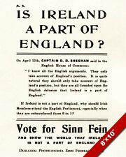 SINN FEIN IRELAND BRITAIN SEPARATION 1918 ELECTION POSTER REAL CANVAS ART PRINT