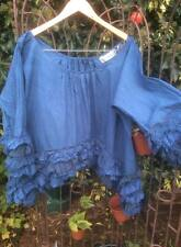 OSFA RITANOTIARA POODLE FRILL SHIRT TOP BLUE COTTON OVERSIZED QUIRKY LAGENLOOK