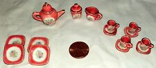 Vintage Porcelain Tea Set Collectible Miniature Hand Painted Pink Gold Gild 15Pc