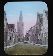 Dutch Colour Glass Magic Lantern Slide Monnickendam Stadhuis Netherlands