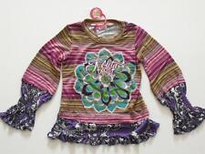(61) Nolita Pocket Girls Materialmix Shirt + Logo Stickerei & Seidenblume gr.128