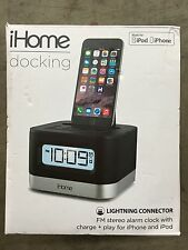 iHome iPL8BN iPhone iPod Docking Station Clock Radio Lightening Connector