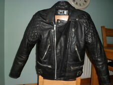 Vintage leather biker jacket-size 44-LARGE-NICELY DISTRESSED-CAFE RACER JACKET-L