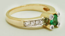 NATURAL 0.47 cts COLOMBIAN EMERALD & DIAMONDS Ring 14k GOLD* FREE SHIPPING