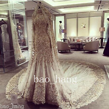 Luxury Beads Mermaid Muslim Wedding Dress Cathedral Vintage Applique Bridal Gown