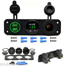 Universal Car SUV Boat Dual USB Charger Voltmeter 12V Power Outlet Socket Panel