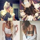new Women Sexy Celebrity Bralette Cage Caged Back Cut Out Padded Bra Crop Top