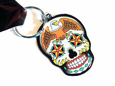 Sugar Skull & Eagle Day of the Dead Dios De Los Muertos Keychain ring