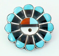 Sterling Silver Zuni Sunface Turquoise Multi Inlay Pin/Pendant