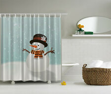 HAPPY SNOWMAN WINTER CHRISTMAS SNOWFLAKES BATHROOM HOME SHOWER CURTAIN