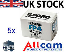 5 Rolls of Ilford FP4 Plus 125 135/35mm 36 Exposure Professional B&W Film *NEW
