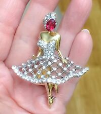 OUTSTANDING PAVE BALLERINA PIN BROOCH ATTRIBUTED TO REJA & TRIFARI BOOK PIECE