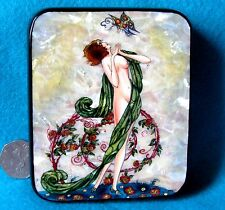 Russian HAND PAINTED LACQUER SHELL Box 'Femme au Papillon' Umberto Brunelleschi