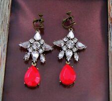 Boucles d`Oreilles Clip Pendante Etoile Goutte Rouge Soirée Mariage Cadeau B5