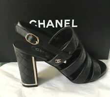 NIB AUTH CHANEL 16C BLACK LEATHER QUILTED STRAPPY SANDAL SHOE SIDE CC LOGO SZ 37