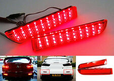 2Pcs Mitsubishi Lancer Evo X Red Lens Bumper Reflector LED Tail Brake Stop Light