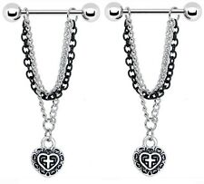 Body Accentz® Nipple Ring Heart Cross bar body Jewelry sold as Pair 14g CZ