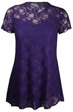 New Ladies Curve Floral Lace Lined Tunic Tops 14-28