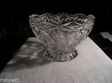 "Lead Crystal Footed Bowl Pressed Glass Pin Wheel & Star w/Cut Work 4.25"" H"