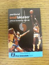 1981/1982 Fixture Card: Basketball - Portland Trail Blazers (fold out style). An