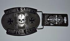 """Rebel Saints Motor Club Metal Belt Buckle Motorcycle Skull Iron Cross 4"""" by 3"""""""