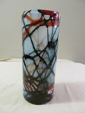 Decorative Opaque Glass Abstract Cylinder Vase Blue, Black Orange & Red Pattern