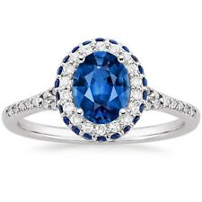 2.00CTS OVAL CUT BLUE SAPPHIRE ENGAGEMENT RING IN SOLID 14KT WHITE GOLD
