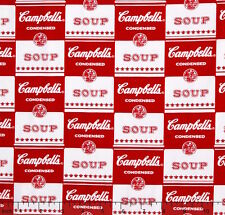 "Campbell's Contemporary Soup Can Label Red 100% cotton 43"" fabric by the yard"