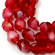 25 Firepolish Czech glass Faceted Round Beads - Two Tone Pearl/Fuchsia 6mm
