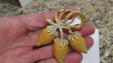 Vintage Signed Coro Strawberries  Rhinestones Brooch Pin Gold Tone Ribbon