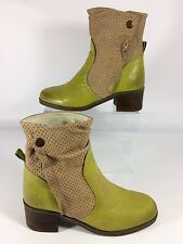 Ladies Fly London Rare Unusual Lime Green Ankle Boots Side Zip UK 5 EU 38