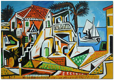 Mediterranean Landscape - Pablo Picasso Art Hand Painted Oil Painting On Canvas