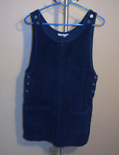 New York Jeans Co Wide Wale Corduroy Sleeveless Top Tunic, M, Blue, 100% Cotton