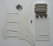 Strat Pickguard,Trem Cover Transparent w/ Chrome Pickup Covers,Knobs,Switch Tip