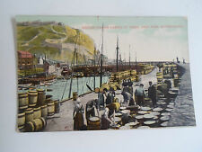 Vintage Colour Tinted PC Scotch Fisher Lasses at Work East Pier Scarborough 1910