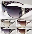 New Womens Shield Designer Animal Print Leopard Zebra Sunglasses Fashion Shades