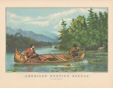 """1952 Vintage Currier & Ives """"HUNTING MOOSE FROM CANOE"""" TRAPPERS COLOR Lithograph"""